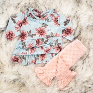 Floral Top - Pink Minky Dot Pants