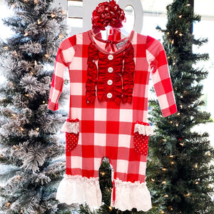 Serendipity Red & White Plaid Romper