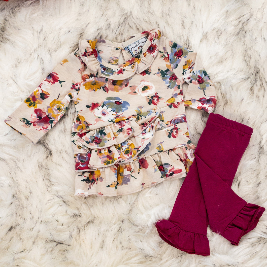 Floral Top & Plum Pants