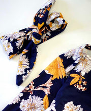 Load image into Gallery viewer, Navy & Mustard Floral Baby Gown w/ Headband