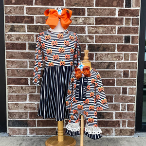 Stripe Carved Pumpkin Romper