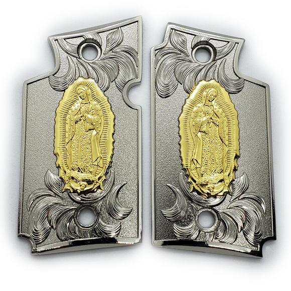 Sig Sauer P938 Virgin Mary Pistol Metal Grips Nickel - Gold