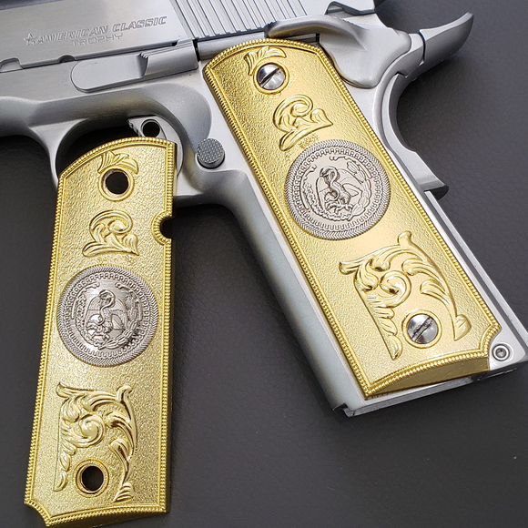 1911 COLT FULL SIZE GOVERNMENT Ambi Cut 2 TONES 24K GOLD/NICKEL #T-T282