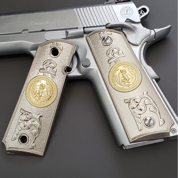 1911 COLT FULL SIZE GOVERNMENT Ambi Cut 2 TONES 24K  NICKEL/GOLD #T-T282