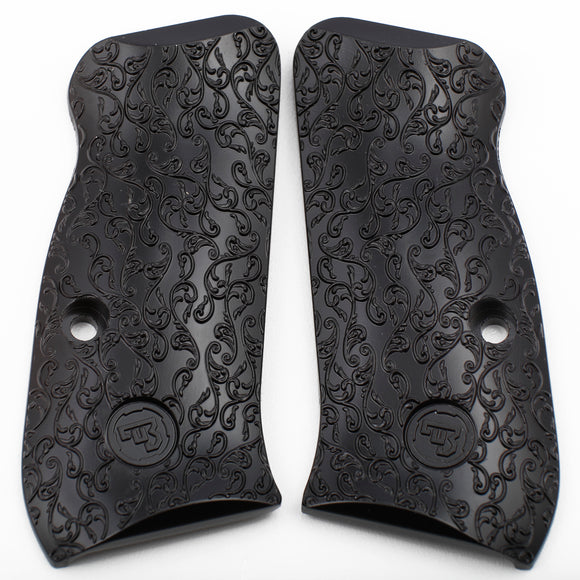 CZ 75 Compact Scroll Grips Black