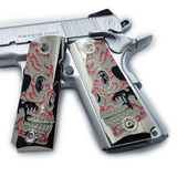 1911 FULL SIZE GRIPS Metal Enameled  Ambi Cut Black