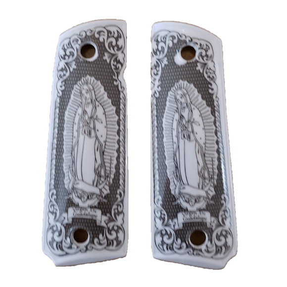1911 Virgin Mary Lady of Guadalupe  Full Size ivory grips W Ambi Cut & Screws , T-T903