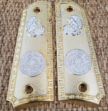 1911 FULL SIZE Aztec Grips Gold Plated  Ambi Cut #T-T783