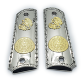 1911 FULL SIZE Aztec Calendar Grips Nickel Plated  Ambi Cut #F-B12