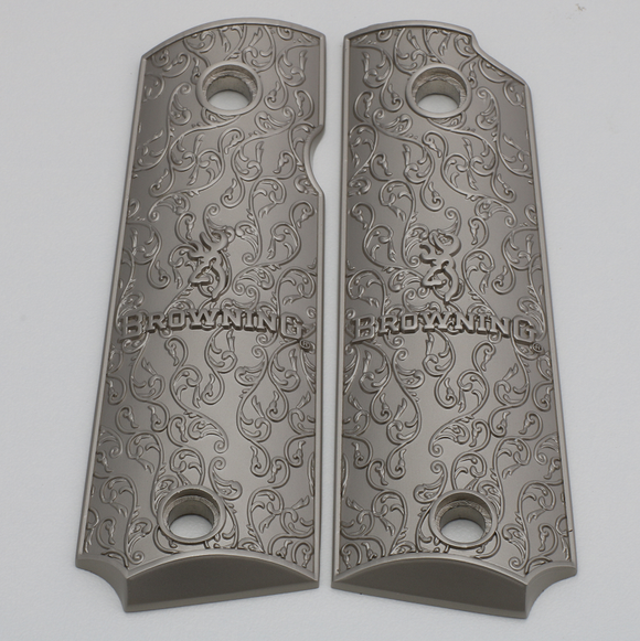 Browning 1911-22 / 1911-380 Metal Grips Brushed Nickel Plated