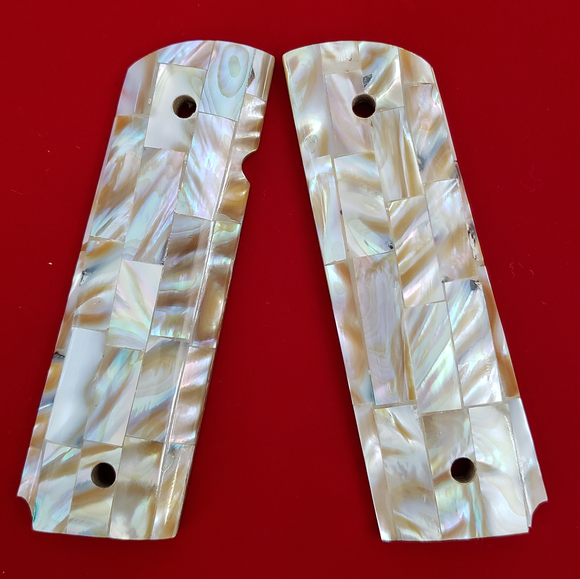 Hand Made 1911 FULL SIZE GRIPS REAL GENUINE MOTHER OF PEARL INLAY #T-T626