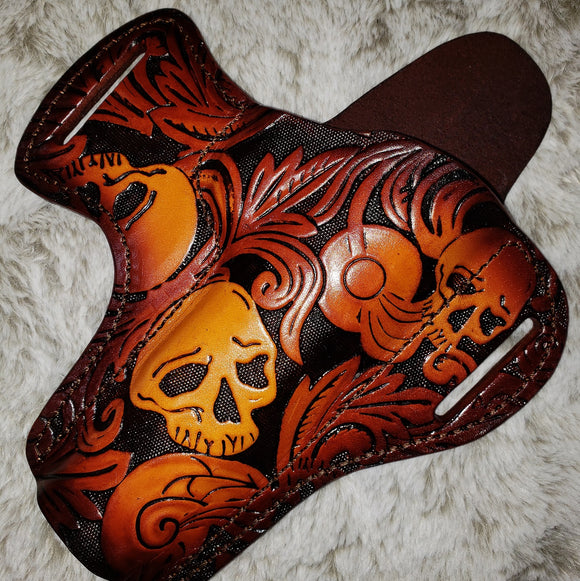 State Of The Art Scroll & Skulls Set Pistol Holster + Double Mag Pouch 100% Genuine Italian Leather