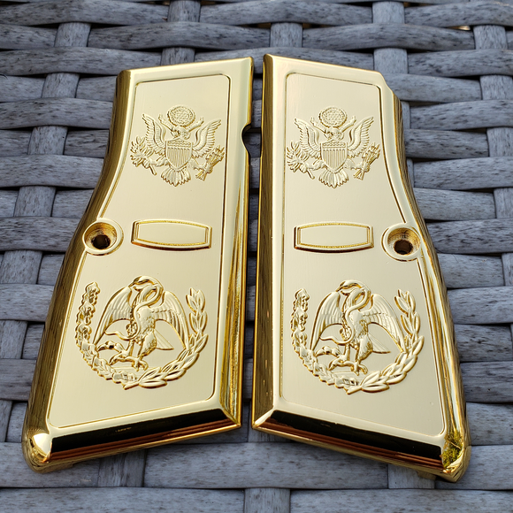 Browning Hi power Engraved Gun Grips Cacha Eagle Full gold Plated