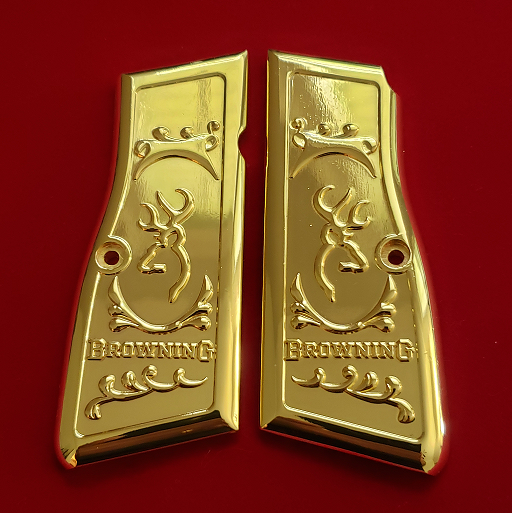 Browning Hi power Engraved Gun Grips Gold Plated T-T1003
