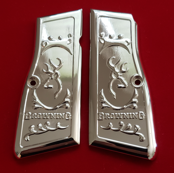 Browning Hi power Engraved Gun Grips Nickel T-T1005