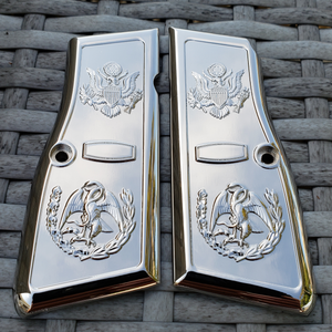 Browning Hi power Engraved Gun Grips Cacha Eagle Full Nickel Plated T-T397