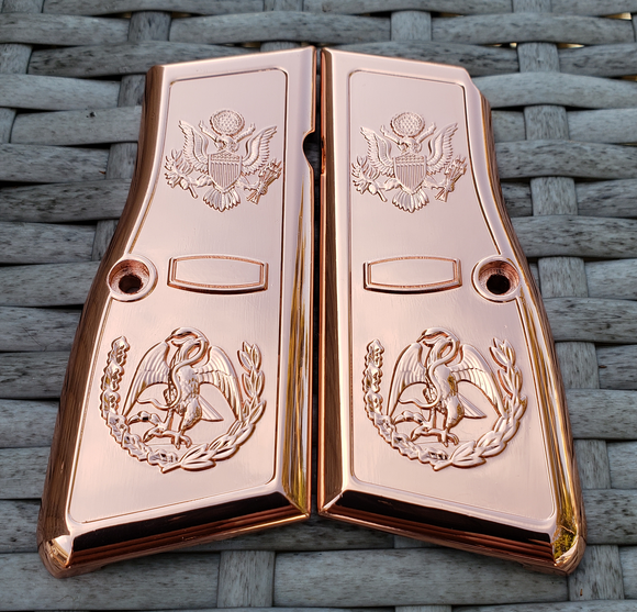 Browning Hi power Engraved Gun Grips Cacha Eagle Rose Gold Plated T-T397