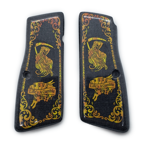 Browning Hi power Art Grips Grim Reaper Gold