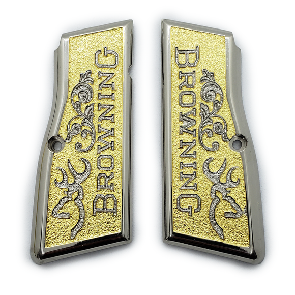 Browning Hi power Gun Grips Nickel Gold T-T387