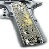 Chalino Sanchez 1911 COLT FULL SIZE  Ambi Cut , Nickel Gold Plated