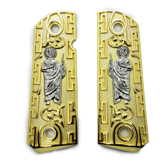 1911 Grips Compact Officer Size  St Jude Grips Gold Nickel