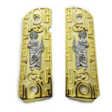 1911 Grips Compact Officer Size  St Jude Grips Nickel Gold