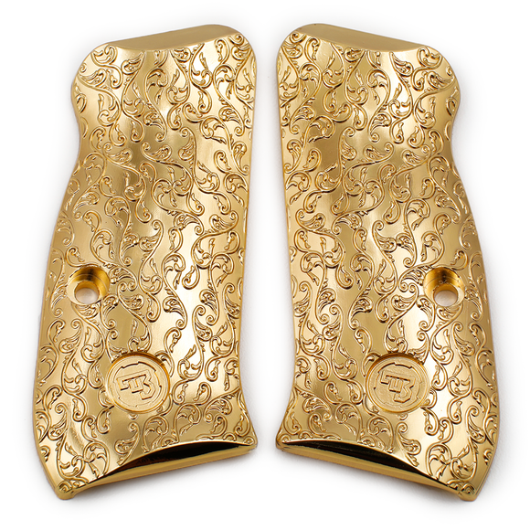CZ 75 Compact Scroll Grips Gold Plated