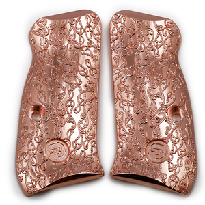 CZ 75 85 Compact Scroll Grips Rose Gold Plated