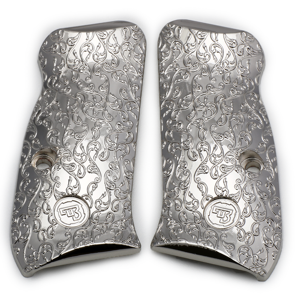 CZ 75 85 Compact Scroll Grips Nickel Plated