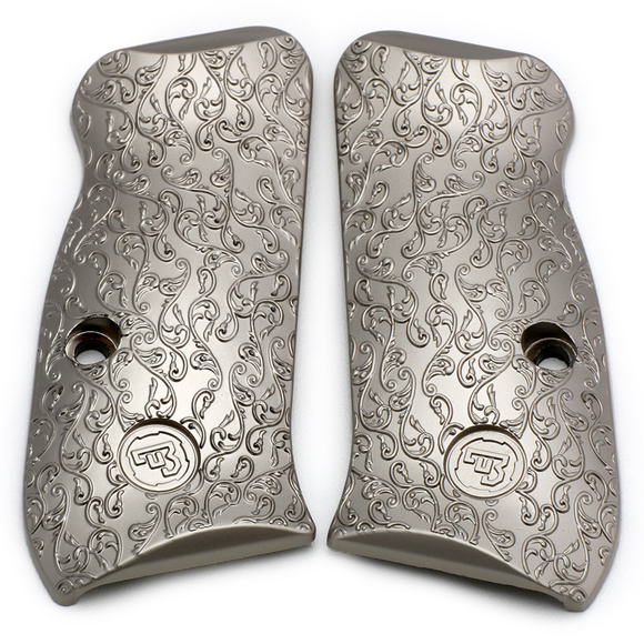 CZ 75 85 Compact Scroll Grips Brushed Nickel