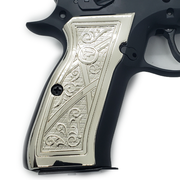 CZ 75 Grips Scroll Full Size 75 B BD SP-01 Shadow 2 Nickel #T-CZ01