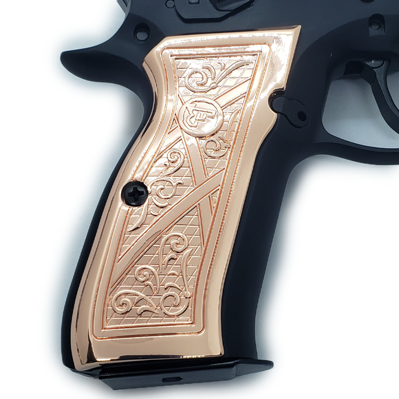 CZ 75-B CZ 85-B Full Size Rose Gold GRIPS CZ-75, CZ-85 Scroll Grips #T-T311