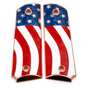 American Flag 1911 Grips FULL SIZE Metal GRIPS Ambi Safety Rose Gold Plated #T-T284