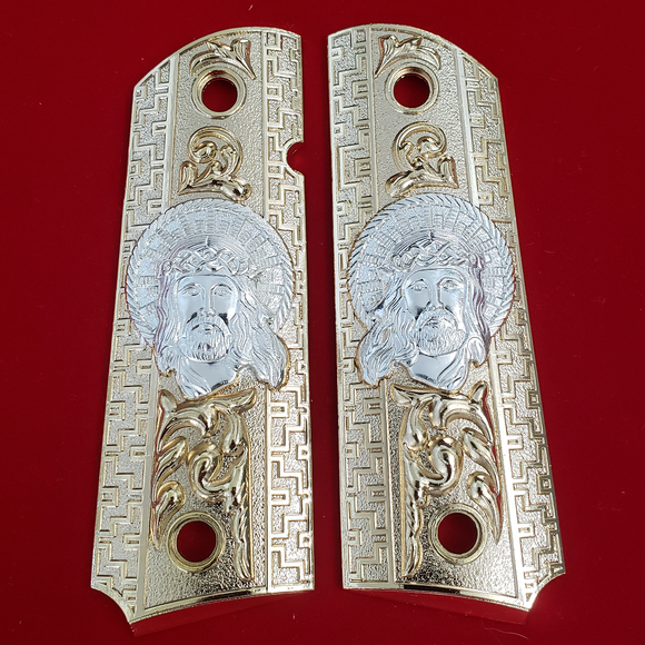 1911 Jesus Head FULL SIZE GRIPS  Gold W AMBI CUT#T-T782