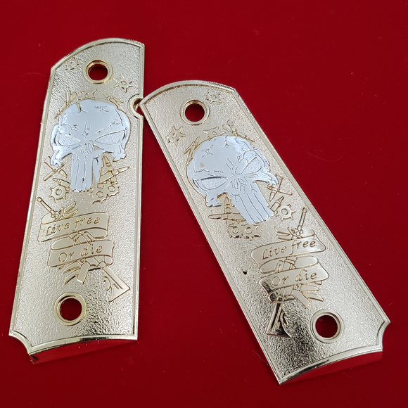 1911 FULL SIZE Grips Live Free Or Die 24K Gold Plated W Ambi Cut #T-T983