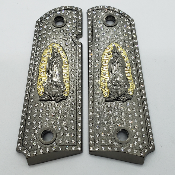 1911 Grips Virgin Mary With Zirconia stones Black