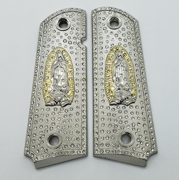 1911 Grips Virgin Mary With Zirconia stones Nickel Plated