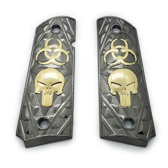 1911 FULL SIZE GRIPS Skull Ambi Cut Black Gold