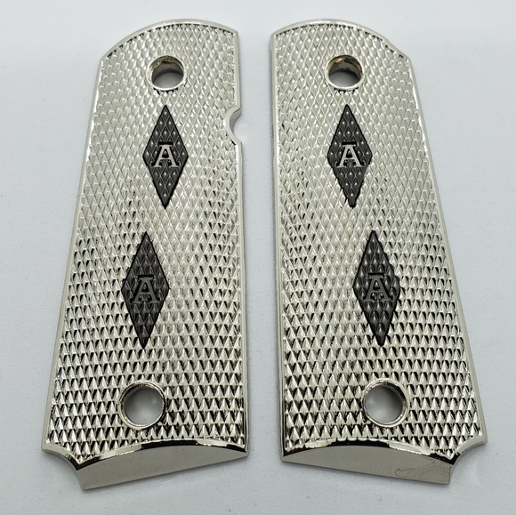 1911 Compact Size Checkered Black GRIPS With Custom Letters