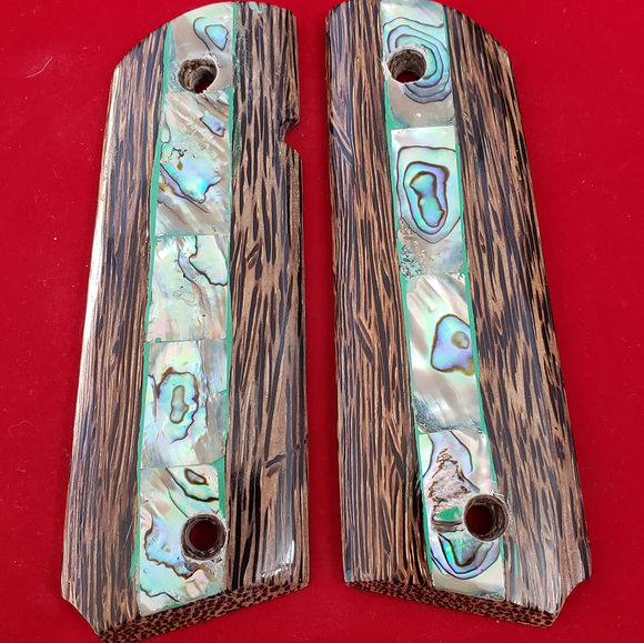 Hand Made 1911 FULL SIZE GRIPS REAL GENUINE MOTHER OF PEARL INLAY #T-T723