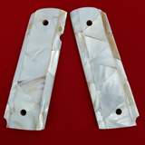 Hand Made 1911 FULL SIZE GRIPS REAL GENUINE MOTHER OF PEARL INLAY #T-T629