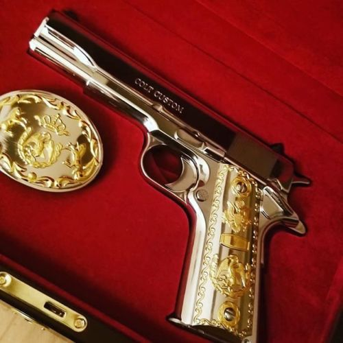 1911 Grips With Buckle Government 45 Colt Gold Plated Screws Included  #T-T324
