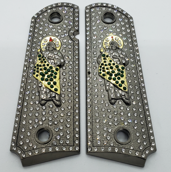 1911 Grips St Jude With Zirconia stones Black