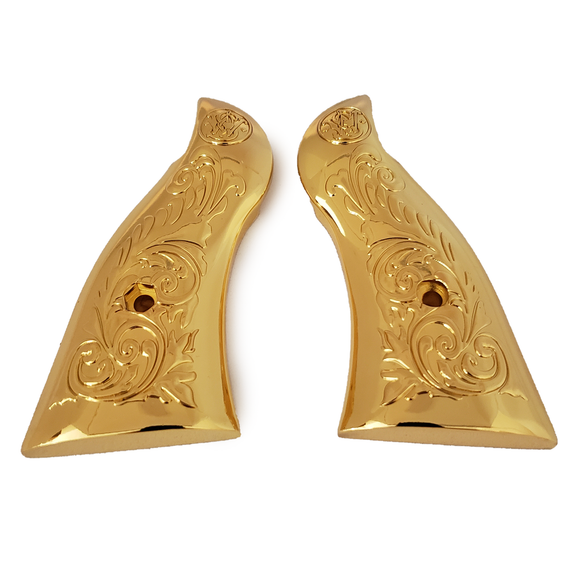 Smith & Wesson Scroll Metal Grips - K-Frame Square Butt Gold