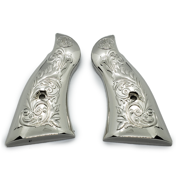 Smith & Wesson Scroll Metal Grips - K-Frame Square Butt Nickel