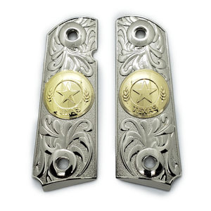 1911 Metal grips gold / Nickel Texas Star Scrollwork Ambi Safety #T-T616