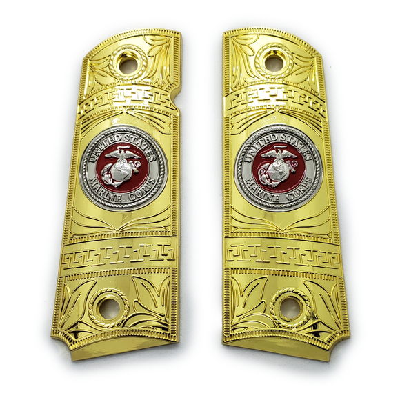 1911 FULL SIZE GRIPS Ambi Cut 2 TONES W Soft Enamel Gold/Nickel