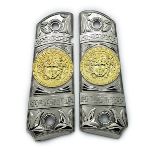 New 1911 Versace Style FULL SIZE  Ambi Cut Nickel/Gold