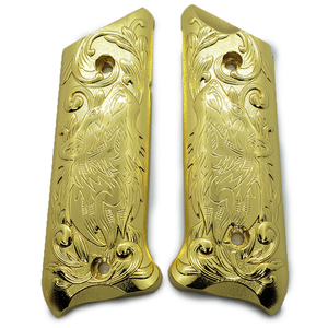 Ruger Mark IV 4 Wolf Metal Grips Gold Plated