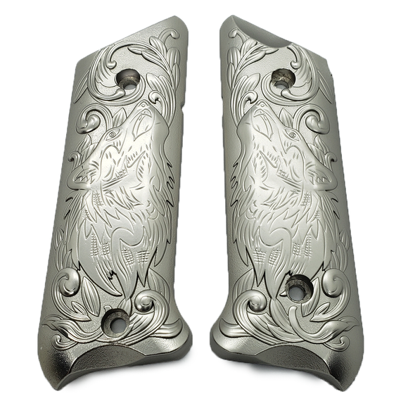 Ruger Mark IV 4 Wolf Metal Grips Nickel Plated